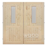 Palubkové dveře dvoukřídlé 160 cm sklo na obou křídlech s příčkou