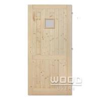Palubkové dveře s příčkou a sklem 20x20