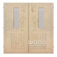 Palubkové dveře dvoukřídlé 125 cm sklo na obou křídlech s příčkou